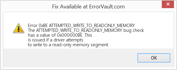 Fix ATTEMPTED_WRITE_TO_READONLY_MEMORY (Error Error 0xBE)