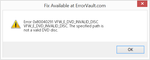 Fix VFW_E_DVD_INVALID_DISC (Error Error 0x80040291)