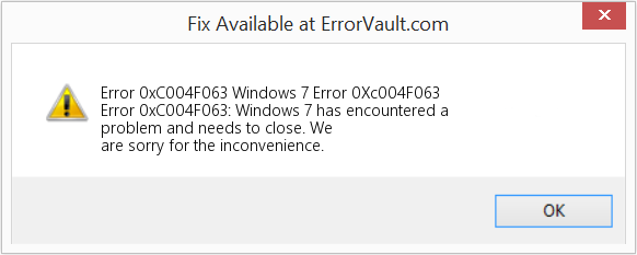 Fix Windows 7 Error 0Xc004F063 (Error Error 0xC004F063)