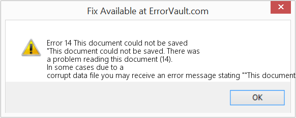 How to fix Error 14 (This document could not be saved) - \