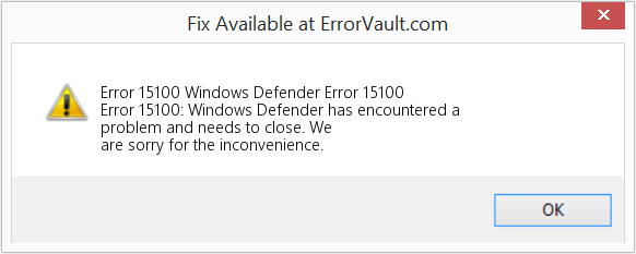 Fix Windows Defender Error 15100 (Error Error 15100)
