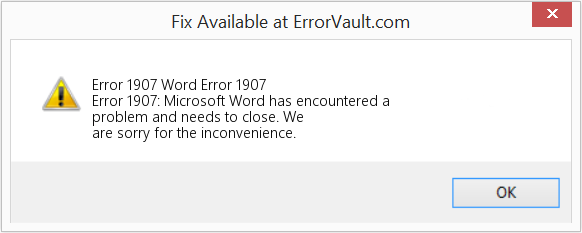 Fix Word Error 1907 (Error Error 1907)