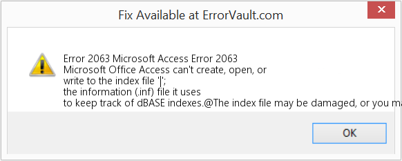 How to fix Error 2063 (Microsoft Access Error 2063