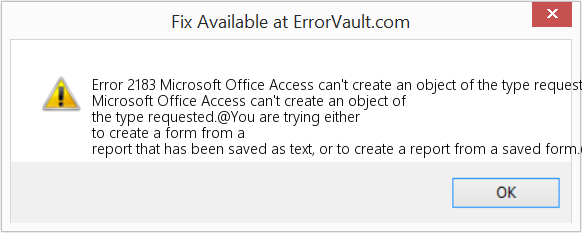 Fix Microsoft Office Access can't create an object of the type requested (Error Error 2183)