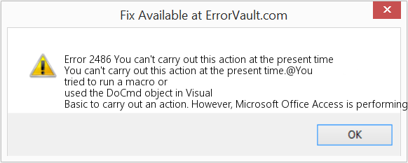Fix You can't carry out this action at the present time (Error Error 2486)