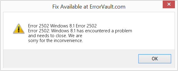 Fix Windows 8.1 Error 2502 (Error Error 2502)