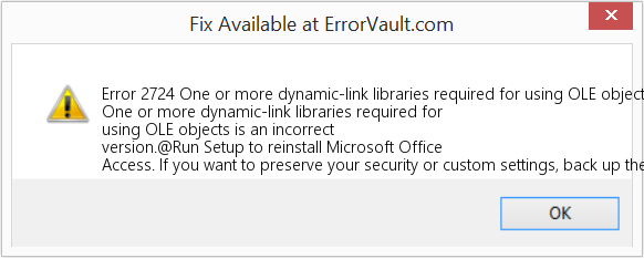 Fix One or more dynamic-link libraries required for using OLE objects is an incorrect version (Error Error 2724)