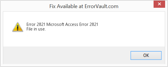 Fix Microsoft Access Error 2821 (Error Error 2821)