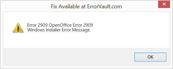 Fix OpenOffice Error 2909 (Error Error 2909)