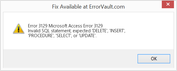 Fix Microsoft Access Error 3129 (Error Error 3129)