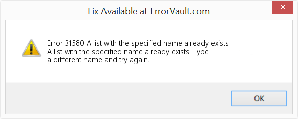 Fix A list with the specified name already exists (Error Error 31580)