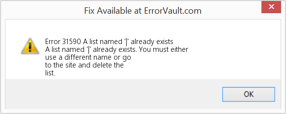 Fix A list named '|' already exists (Error Error 31590)
