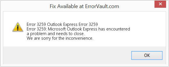 Fix Outlook Express Error 3259 (Error Error 3259)