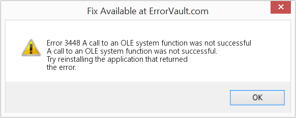 Fix A call to an OLE system function was not successful (Error Error 3448)