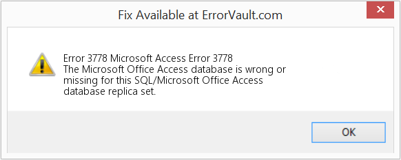 Fix Microsoft Access Error 3778 (Error Error 3778)