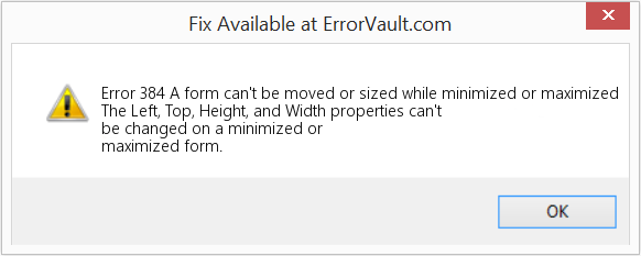 Fix A form can't be moved or sized while minimized or maximized (Error Error 384)
