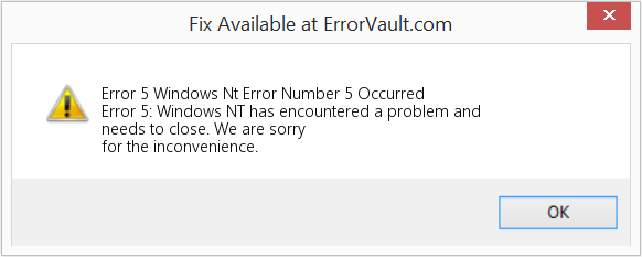 Fix Windows Nt Error Number 5 Occurred (Error Error 5)