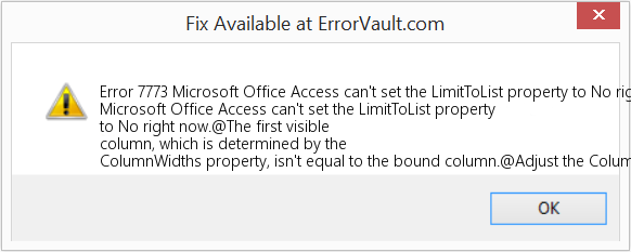 Fix Microsoft Office Access can't set the LimitToList property to No right now (Error Error 7773)