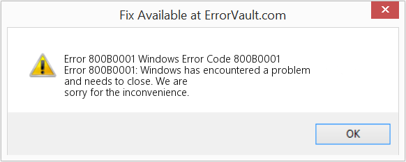 Fix Windows Error Code 800B0001 (Error Error 800B0001)